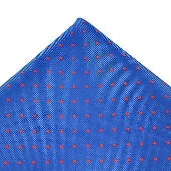 Kravaty Planet Royal Blue & Red Polka Dot Hedvábná kapesní kapesník