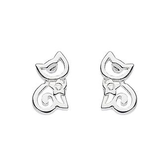 Dew Sterling Silver Dinky Cat With Cubic Zirconia Stud Earrings 3560CZ027