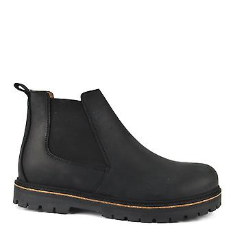 Birkenstock Men's Stalon Nubuck Leather Boots Black