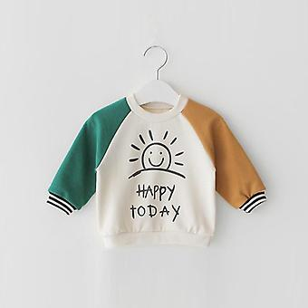 Nowy Casual Toddler Baby Kids Boys Girls Long Sleeve Pure Cotton Letter T-shirt