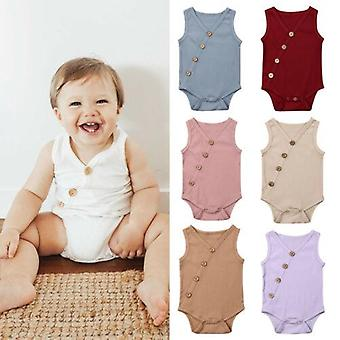 Summer Newborn Toddler Cotton Solid Jumpsuit Body Outfit