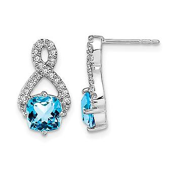 2.50 Carat (ctw) Blue Topaz and Diamonds Infinity Earrings in 14K White Gold