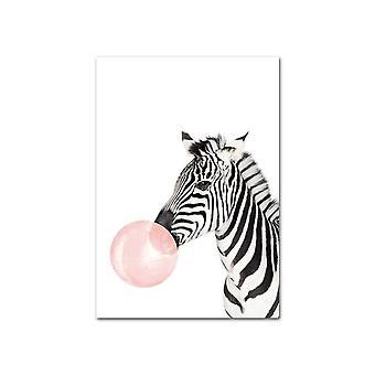 Bulle rose, éléphant, girafe - toile d'art de mur animal, peinture d'impression de pépinière