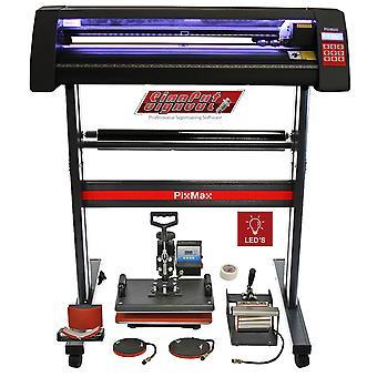 Vinyl Cutter LED Light 5 in 1 Heat Press Starter Kit Sublimation Transfer Bundle