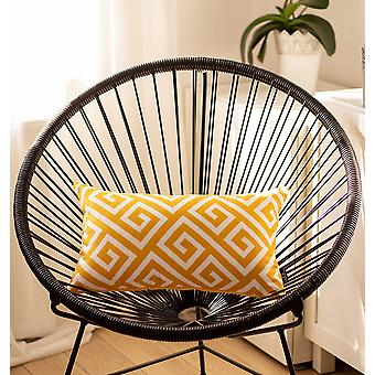 Greek Key Yellow & White Decorative Lumbar Throw Pillow Cover