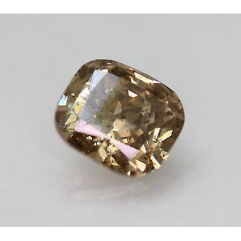 Cert 2.00 Karaat Fancy Intense Brown SI2 Kussen Natural Loose Diamond 8.18x7.47m