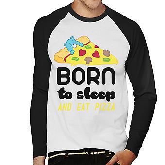 Hoito Karhut Bedtime Karhu Syntynyt nukkumaan ja syömään Pizza Men's Baseball Pitkähihainen T-paita