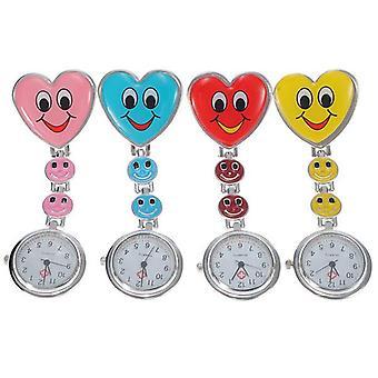 Dessin animé Coeur Sourire Face Nurse Watch Clip Sur Fob Broche Suspendu Pocket Watch