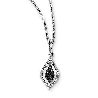 925 Sterling Silver Polished Prong set Open back Lobster Claw Closure Black and White Diamond Fashion Pendant Necklace J