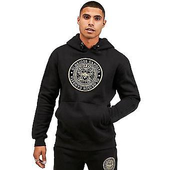 Glorious Gangsta   1128 Berto Tape Crest Logo Overhead Hood Sweat Top - Black