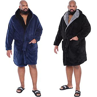 D555 Mens Newquay Big Tall King Size Super Soft Hooded Bath Robe Dressing Gown