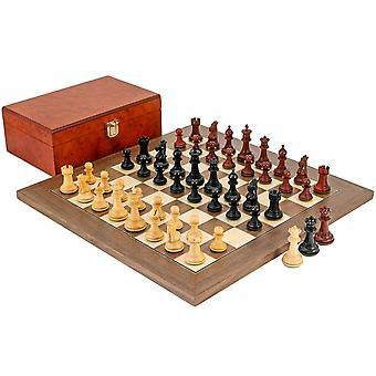 Madrid Tres Corone eebenpuu, Padouk ja Walnut shakkinappulat
