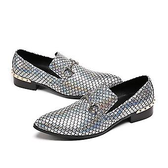 Genuine Leather Men's Flats Men Shinny Glitter Chaussures