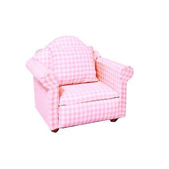 בית בובות בית תינוק ורוד גינגהאם כורסה מיניאטורות מודרני סלון רהיטים