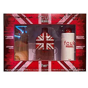 FCUK Rebel For Her Gift Set 100ml EDT + 250ml Body Lotion + 250ml Fragrance Mist