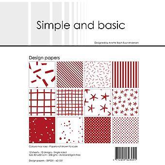 Enkelt och grundläggande Chili Red 12x12 Tums Papperspaket