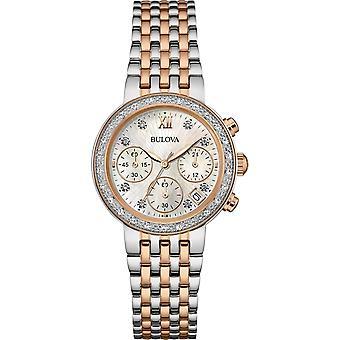 Bulova 98W215 السيدات الماس جمع اثنين من لهجة ساعة اليد