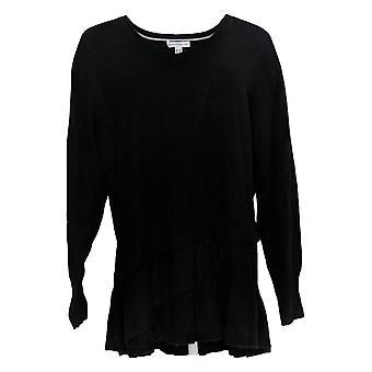 Isaac Mizrahi Live! Damen's Plus Pullover Rüschen Peplum Schwarz A343270