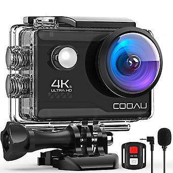 Cooau 4k 20mp wi-fi action camera external microphone remote control eis stabilization underwater 40