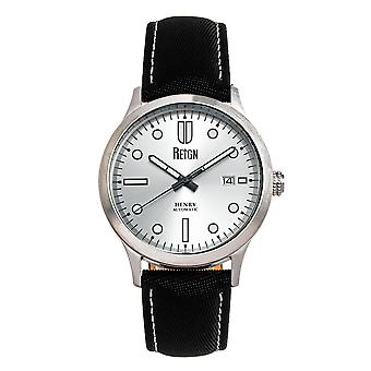 Reign Henry Automatic Canvas-Overlaid Leather-Band Watch w/Date - Silver
