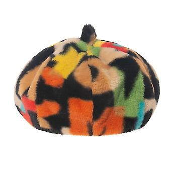 Extérieur Multicolor Rainbow Faux Fur Letter Pattern Bucket Winter Warm Hats