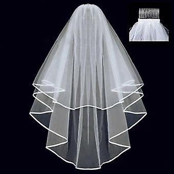 Eenvoudige tule, twee lagen bruids sluier, lint rand met kam