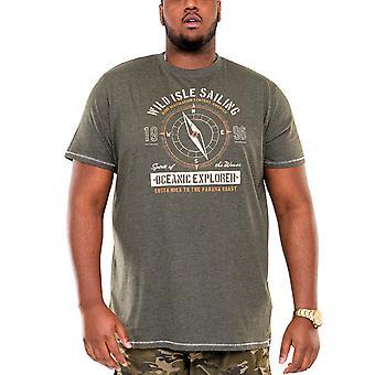 Duke D555 Mens Atticus Big Tall King Storlek Crew Neck T-Shirt Tee Top - Khaki Marl