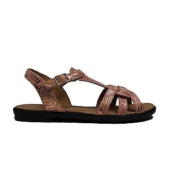 Ricosta Birte 7021100-333 Pink Print Leather Girls T-Bar Sandals