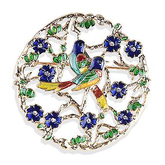 Brooch Pin Cartoon Two Birds Corsage Crystal Painted Alloy Ladies Brooch