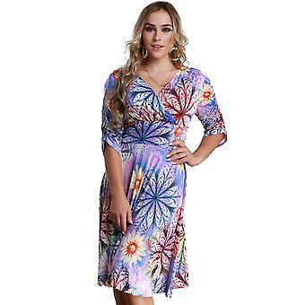Ženy plus veľkosť šaty farebné kvetinové potlač v krku polovičný rukáv midi štíhle elegantné