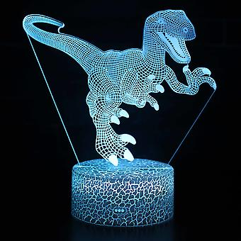 3D illusjon lampe 7 farger optisk endring touch lys USB og fjernkontroll art deco gjøre en romantisk atmosfære julen Valentine bursdag gave -dinosaur # 24