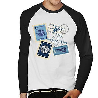 Pan Am Postage Stamps Montage Men's Baseball Long Sleeved T-Shirt