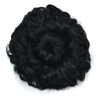 Wide Curly Hair Bun Women Curly Chignon Wig