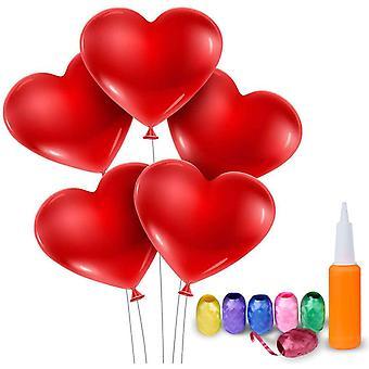 Herzballons mit Pumpe 100 Latexballons und 6 Farbiges Band Luftballons Herz Rot fr Valentinstag,