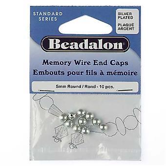 Beadalon End Cap Pärlor för minnestråd, rund lim i 5mm, 10 stycken, silverpläterade