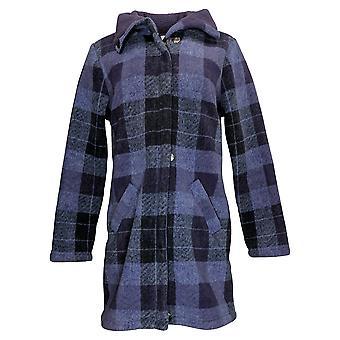 Denim & Co. Women's Coat Reg Plaid Print Sherpa Purple A342712