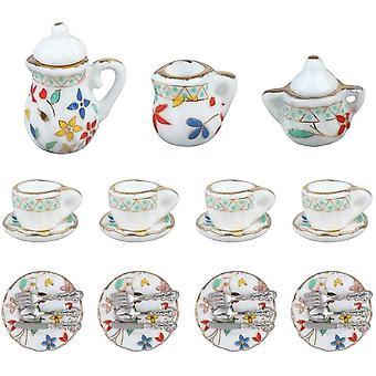 FengChun Miniatur Porzellan Teetasse Set Puppenhaus Miniatur Porzellan Tee Set Puppenhaus Zubehör