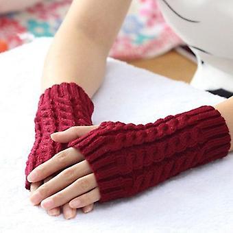 Трикотажные крючком Длинные без пальцев Mittens Gants Femme Мода женщины Зимняя осень