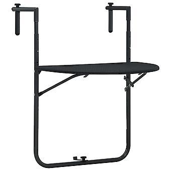 Balkon Tisch hängen 60X64X83.5 Cm Rattan-Look Kunststoff Schwarz