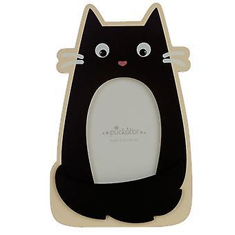 Koci Cienki Czarny Kot W kształcie drewnianej ramki do zdjęć