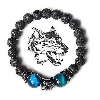 Wolf Head Crystal Stress Relief Anti Anxietate Energie Piatră Beaded Brățară (Albastru)