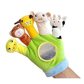 Baby stuffed animal hand puppets, parent-child toys(Green)