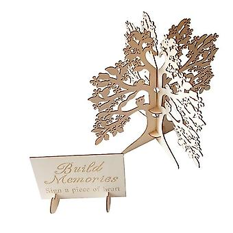 Unique Wedding Guest Book Alternative, Rustic Guest Registry Wood Trees With Stand