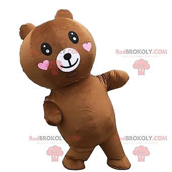Mascote REDBROKOLY.COM ursinho de pelúcia inflável com corações, traje inflável