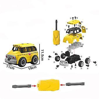 Children's afneembare DIY schoolbus speelgoed