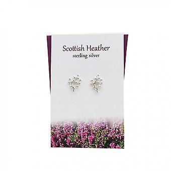 Scottish Heather Stud Earrings Card by The Silver Studio