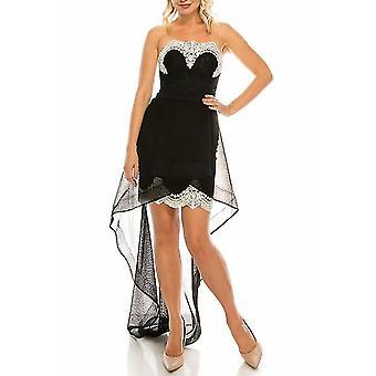 Odrella černá vyšívané krajky bez ramínek vysoké nízké večerní šaty