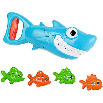 Baby Bath Toys - 2021 Upgraded Blue Shark With Teeth Biting Action Include 4 Toy Fish Bath Toys