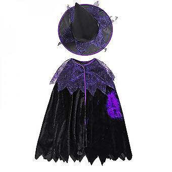 Deti Dievčatá Čarodejnica zdobiť bat princess šaty klobúk plášť Halloween Cosplay kostým