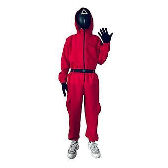Bläckfisk spel kostym jumpsuit med bälte + handskar + masker